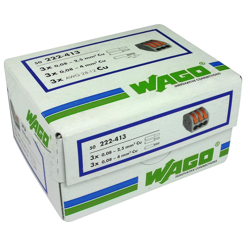 50 x Wago 3 Way Compact Terminal Connector Block Grey 3W Et Lumiere