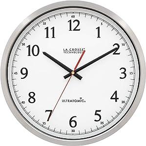 La Crosse Technology 404-1235UA-PL UltrAtomic 14 inch Stainless Steel Wall Clock, Shatterproof Lens, Silver