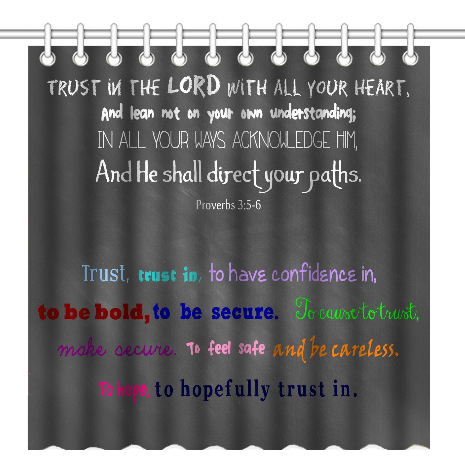 Wknoon 72 x 72 Inch Shower Curtain, Christian Bible Verse Scripture Quotes Proverbs Trust in The Lord with All Your Heart, Waterproof Polyester Fabric Decorative Bathroom Bath Curtains by Wknoon
