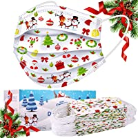50-Pack Sudilo Kids Disposable Christmas Face Masks (White)