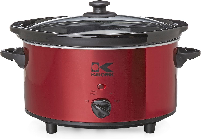 Kalorik Oval Slow Cooker, Red, 3.7-Qt.