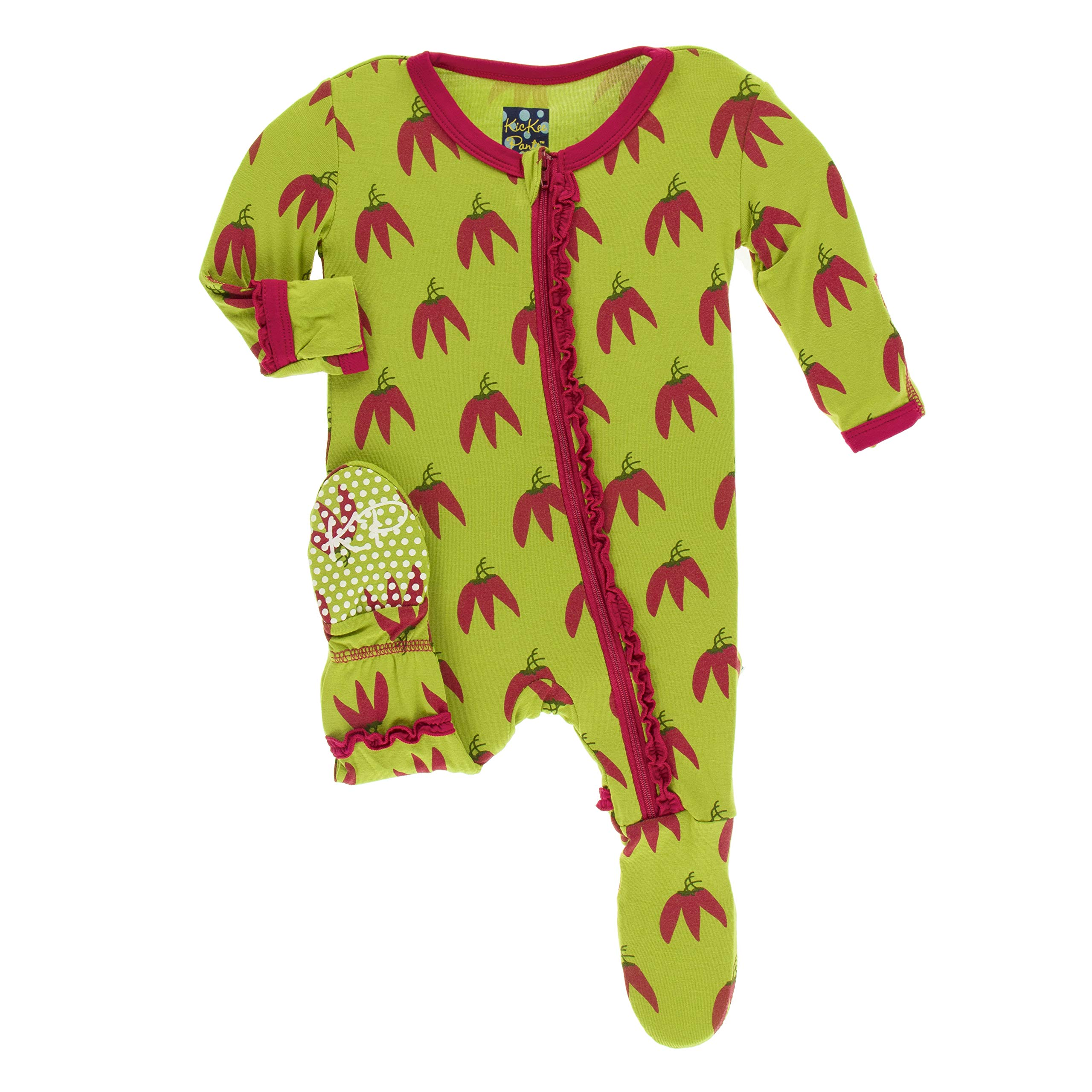 Kickee Pants Print Muffin Ruffle Footie with Zipper (Meadow Chili Peppers - 4T)