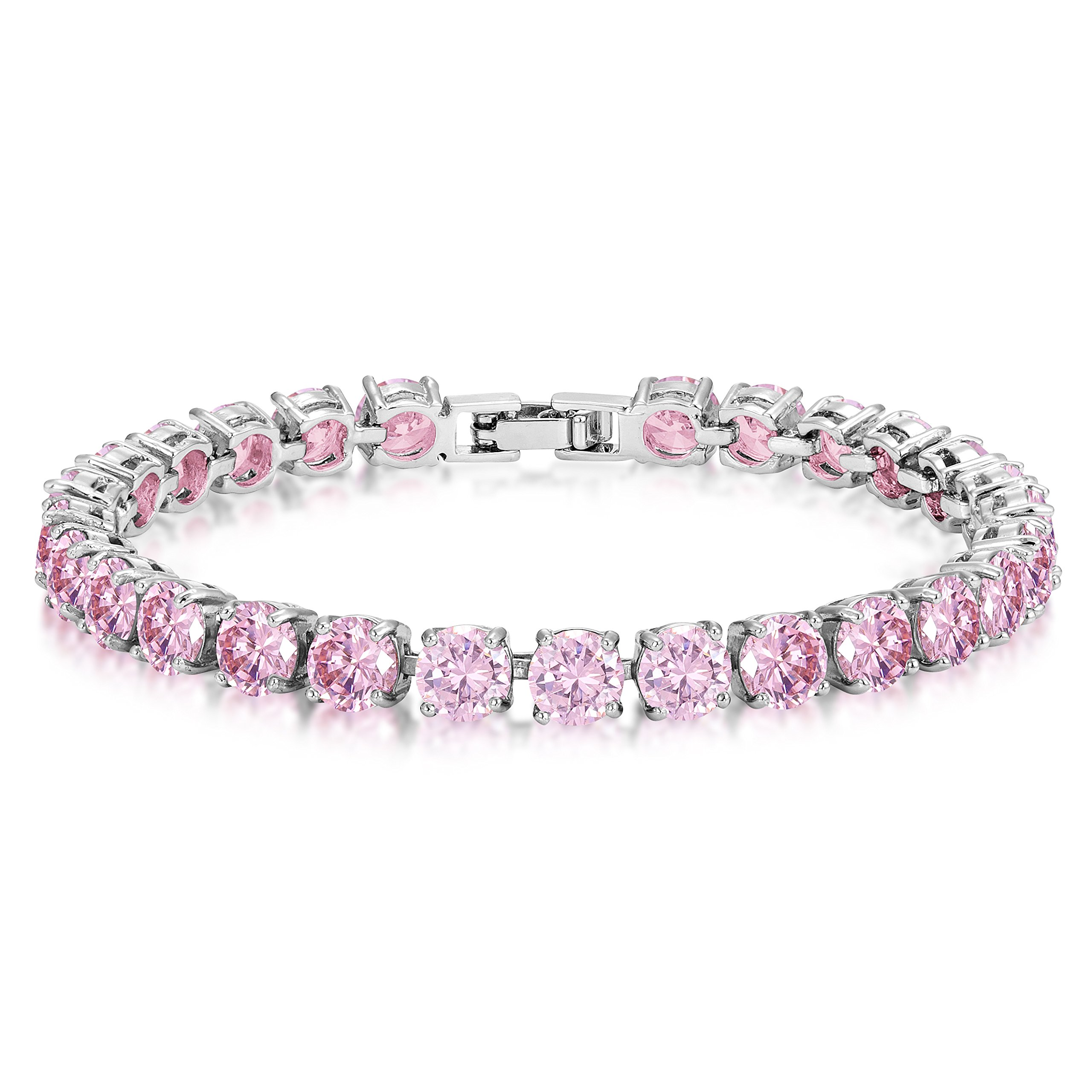 Pink CZ Tennis Bracelet 6mm Round Cut Silver over Brass 7 inch