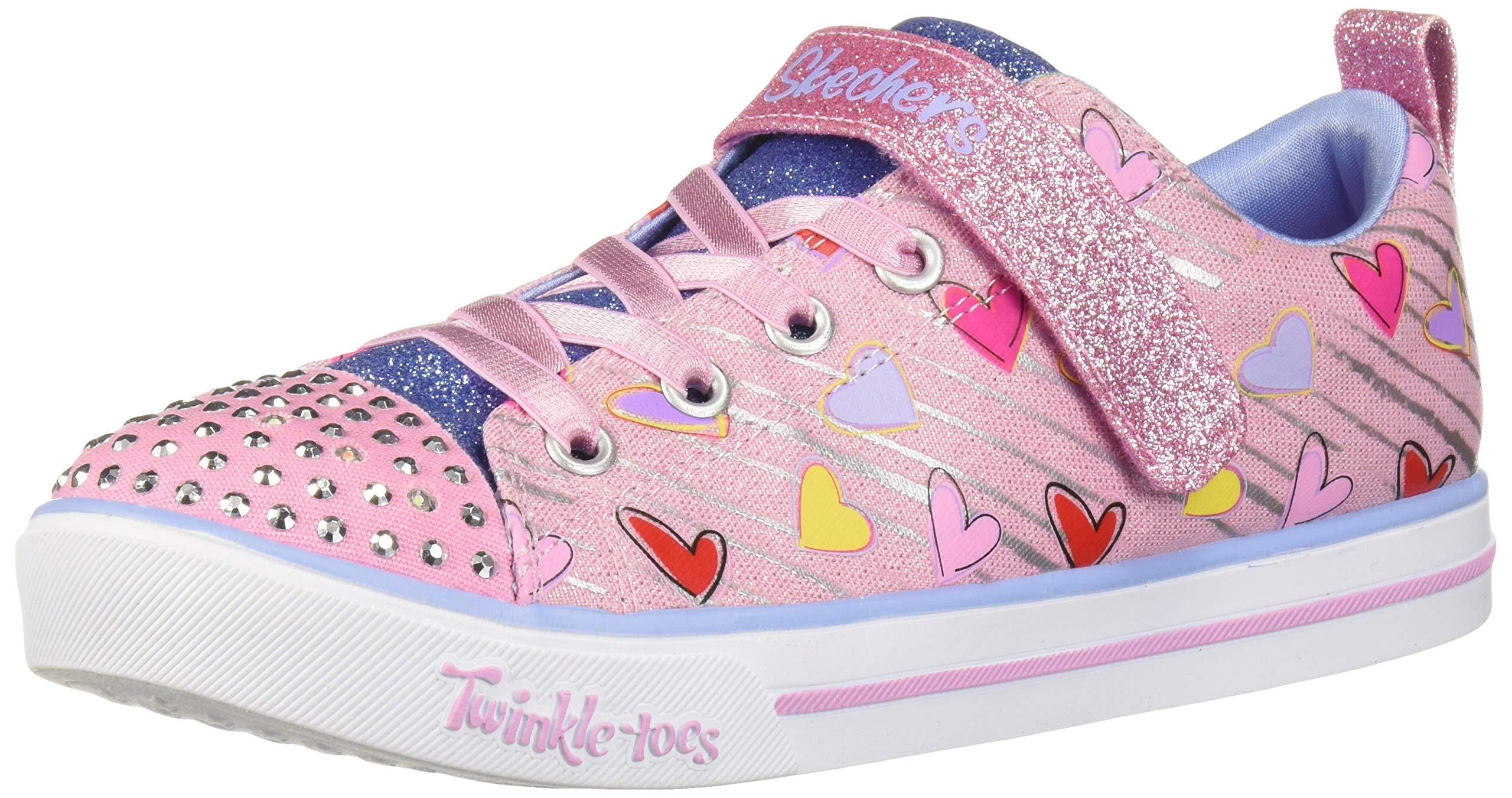 Skechers Kids Girls' Sparkle LITE Sneaker, Light Pink/Multi, 8 Medium US Toddler