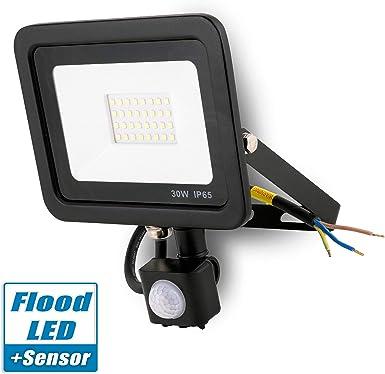 Popp Foco con Sensor Movimiento 30W Proyector LED Exterior Iluminación de Exterior Segura, Impermeable IP65, Lámpara de luz blanca para Jardín, Camino,resistente al agua.: Amazon.es: Iluminación