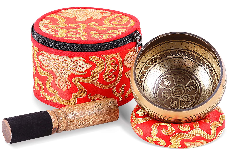 Tibetan Singing Bowls Set, Ohuhu 4'' Meditation Sound Bowl with Singing Bowl Mallet, Silk Cushion and Storage Bag by Ohuhu