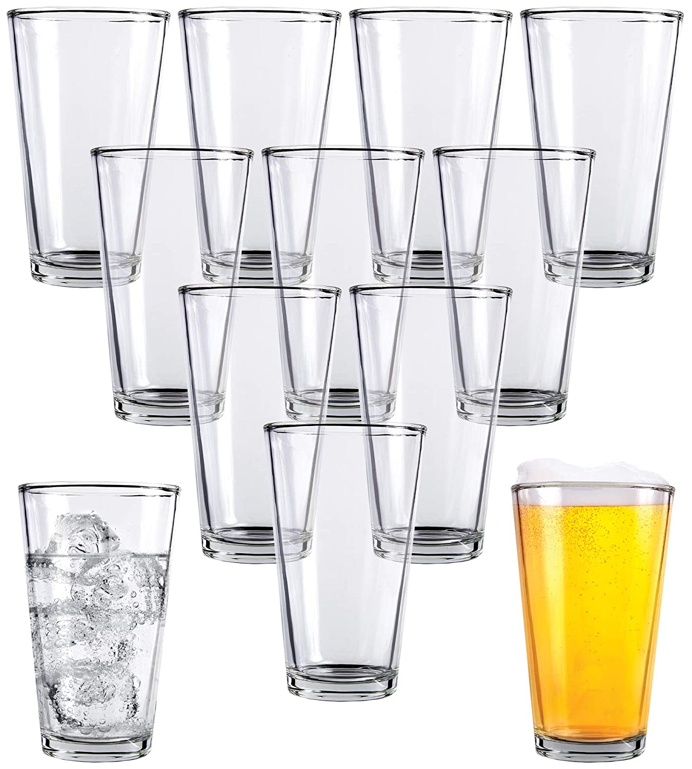 Clear Glass Beer Cups – 12 Pack – All Purpose Drinking Tumblers, 16 oz – Elegant Design for Home and Kitchen – Lead and BPA Free, Great for Restaurants, Bars, Parties – by Kitchen Lux