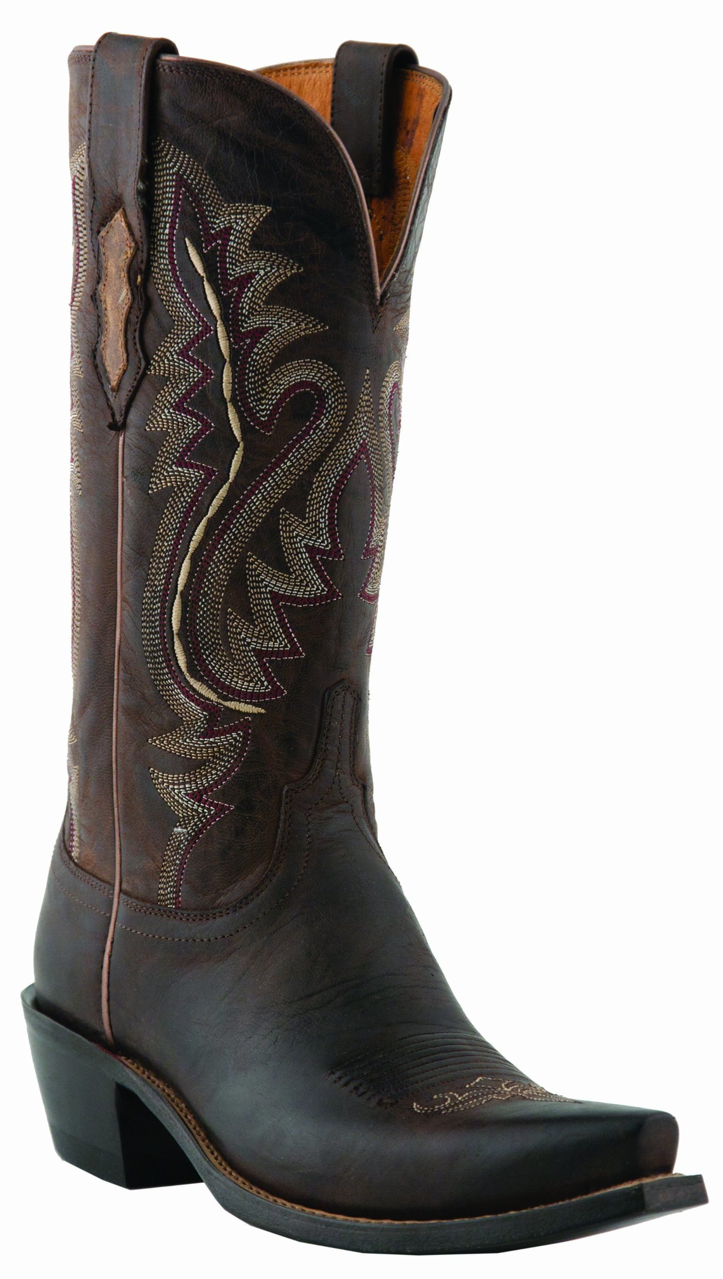 Lucchese Women's Handcrafted 1883 Madras Goat Cowgirl Boot Snip Toe Chocolate 9 M US