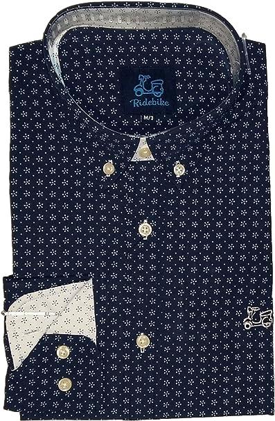 Ridebike New!! Camisa Azul Marino con Estrellas Blancas Vespa | Custom fit | Diseño del puño a Juego con el Cuello (M): Amazon.es: Ropa y accesorios