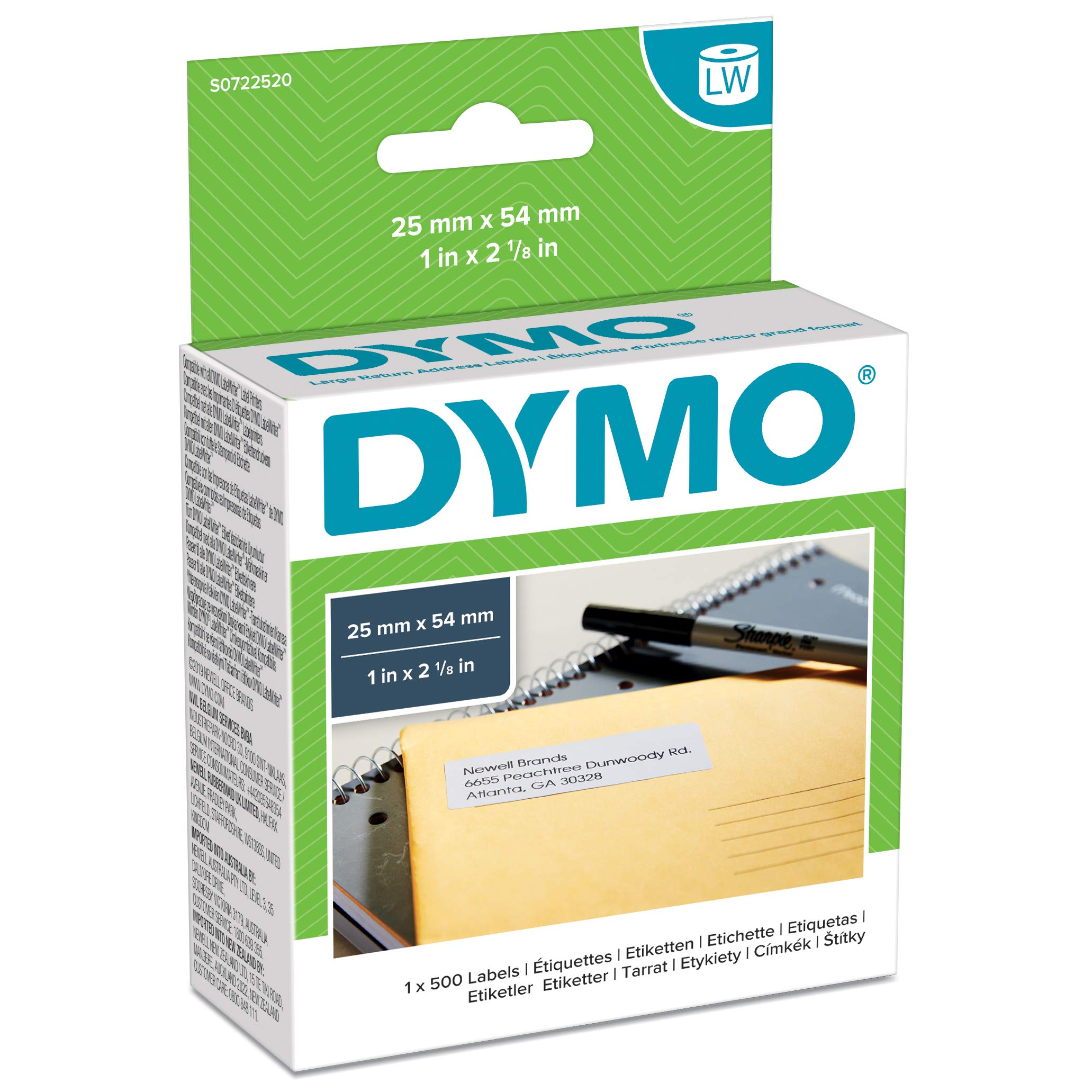 DYMO LW Large Return Address Labels, 25 mm x 54 mm, Roll of 500 Easy-Peel Labels, Self-Adhesive, for LabelWriter Label Makers, Authentic
