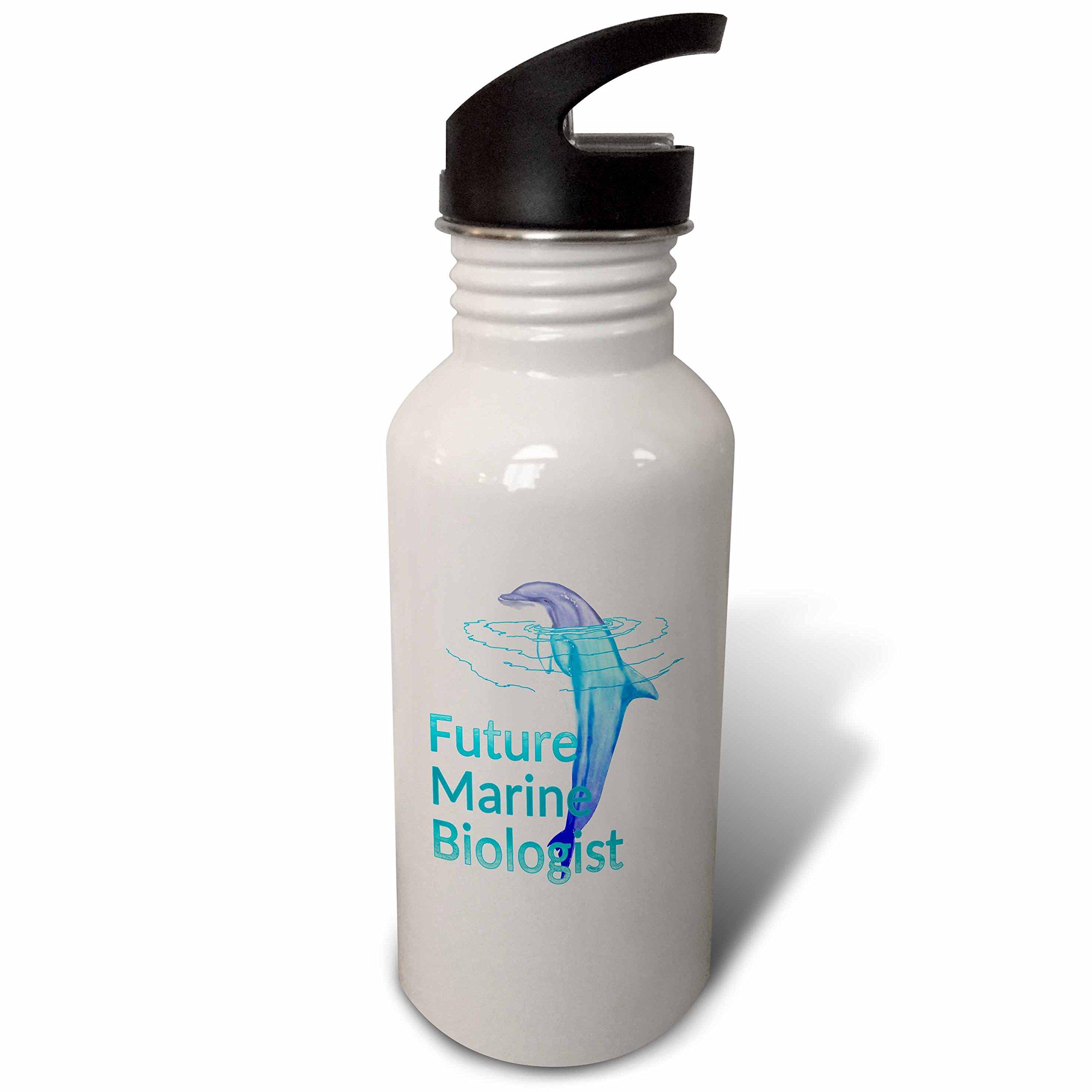 3dRose MacDonald Creative Studios – Marine Animals - Future Marine Biologist with bottlenose dolphin - Flip Straw 21oz Water Bottle (wb_281503_2)