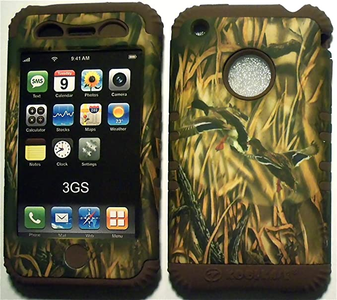 huge discount 6cf0b bbe22 Camo Ducks on Brown Silicone Skin for Apple iPhone 3 3G 3GS Hybrid 2 in 1  Rubber Cover Hard Case fits AT&T Wireless