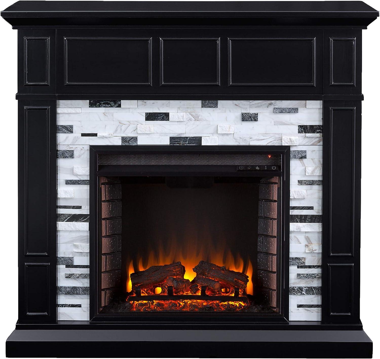 White//Gray SEI Furniture Dendale Fireplace