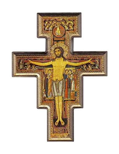 Desiderata Gallery Brand, San Damiano, St. Francis of Assisi Gold Trim Tau Crucifix Wall Cross Imported from Italy 10.5 High