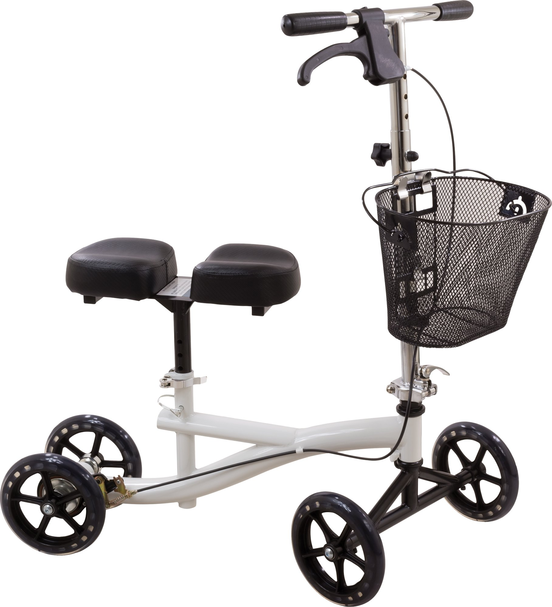 Roscoe Knee Scooter with Basket - Knee Walker for Ankle or Foot Injuries - Height Adjustable Knee Crutch Medical Scooter, White by Roscoe Medical