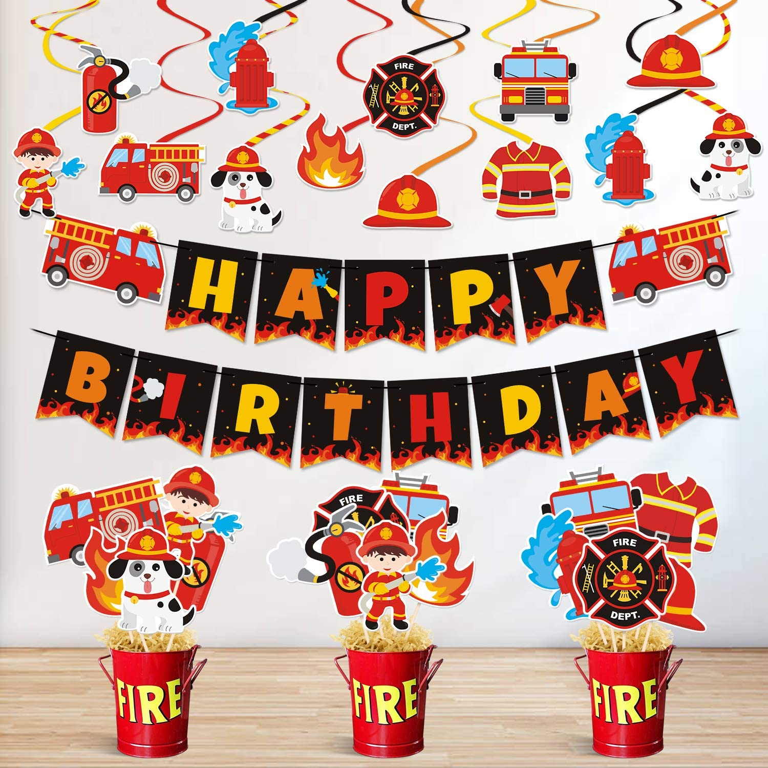 Bessmoso Fire Truck Party Decorations Set Happy Birthday Banner Centerpiece Sticks Hanging Swirl Decorations for Fireman Firefighter Fire Engine Rescue Theme Birthday Party Supplies
