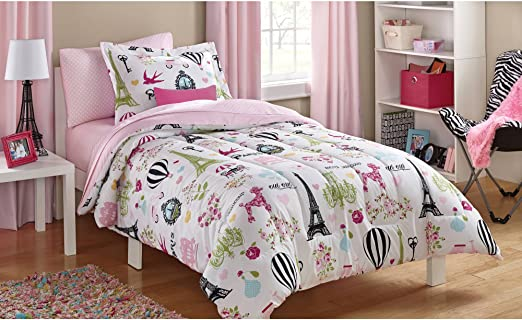 Amazon.com: Twin Size Bag Bedding Set Kids Paris Bed in Pink: Home