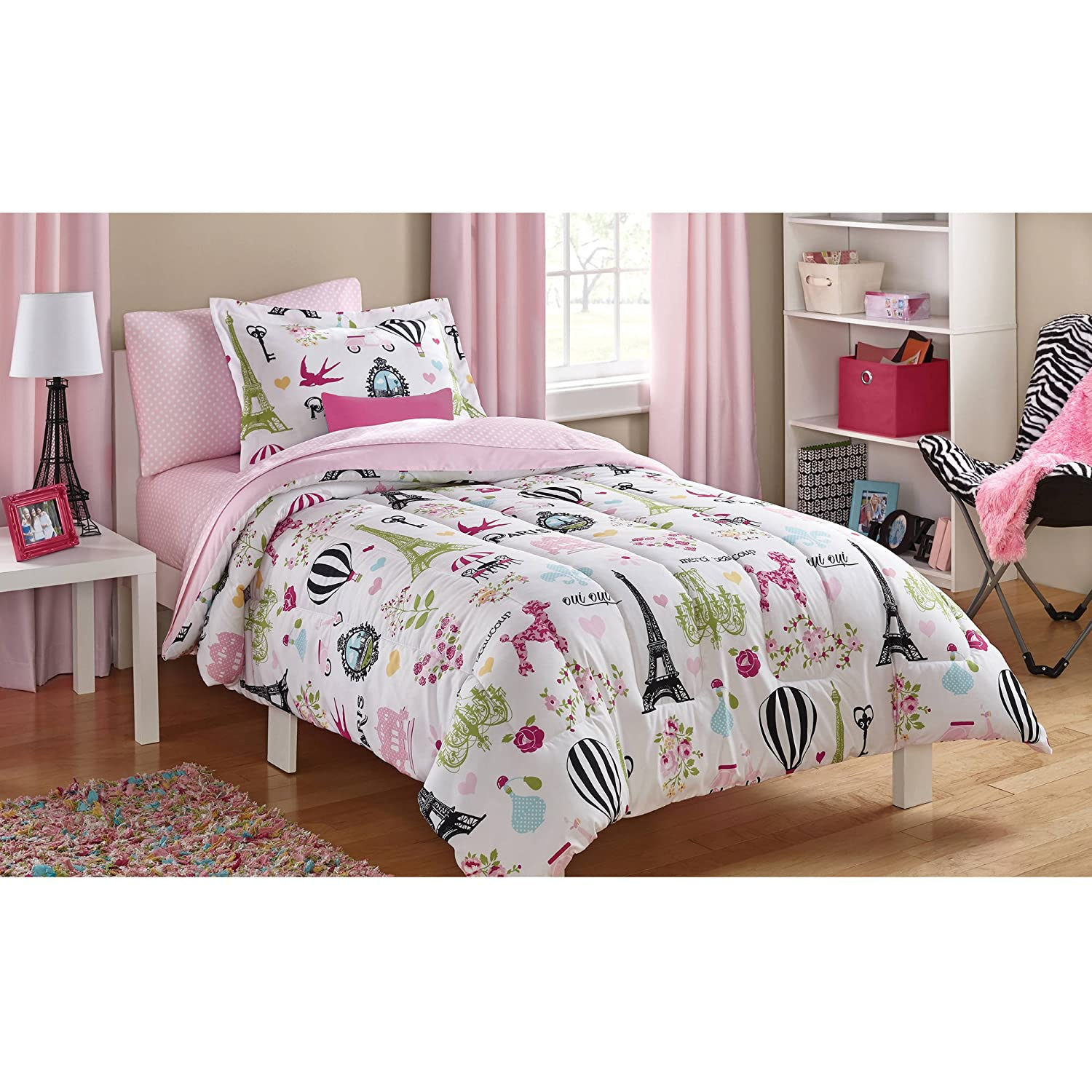 Mainstays Kids Paris Reversible Solid Pink Full Bedding Comforter for Girls (7 Piece in a Bag)