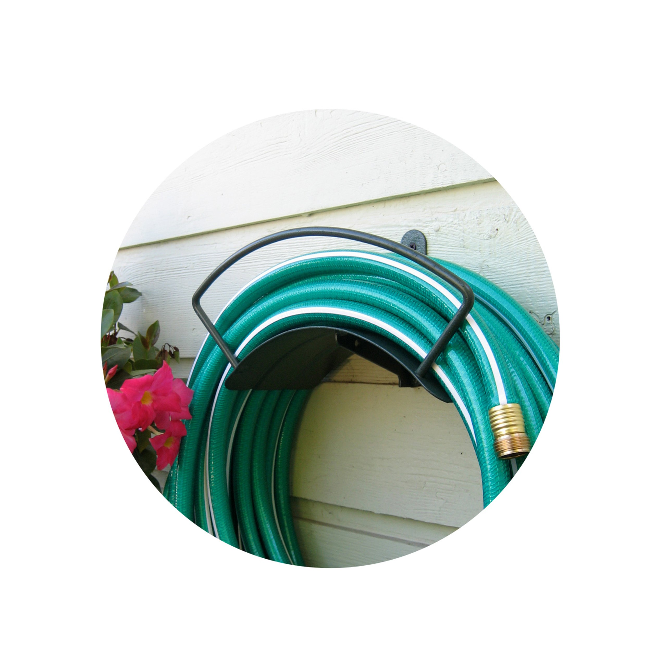 Yard Butler Deluxe Heavy Duty Wall Mount Hose Hanger Easily Holds 100' Of 5/8' Hose Solid Steel Extra Bracing And Patented Design In and DECORATIVE DESIGNS IHCWM-1 Textured Forest Green by Yard Butler (Image #3)