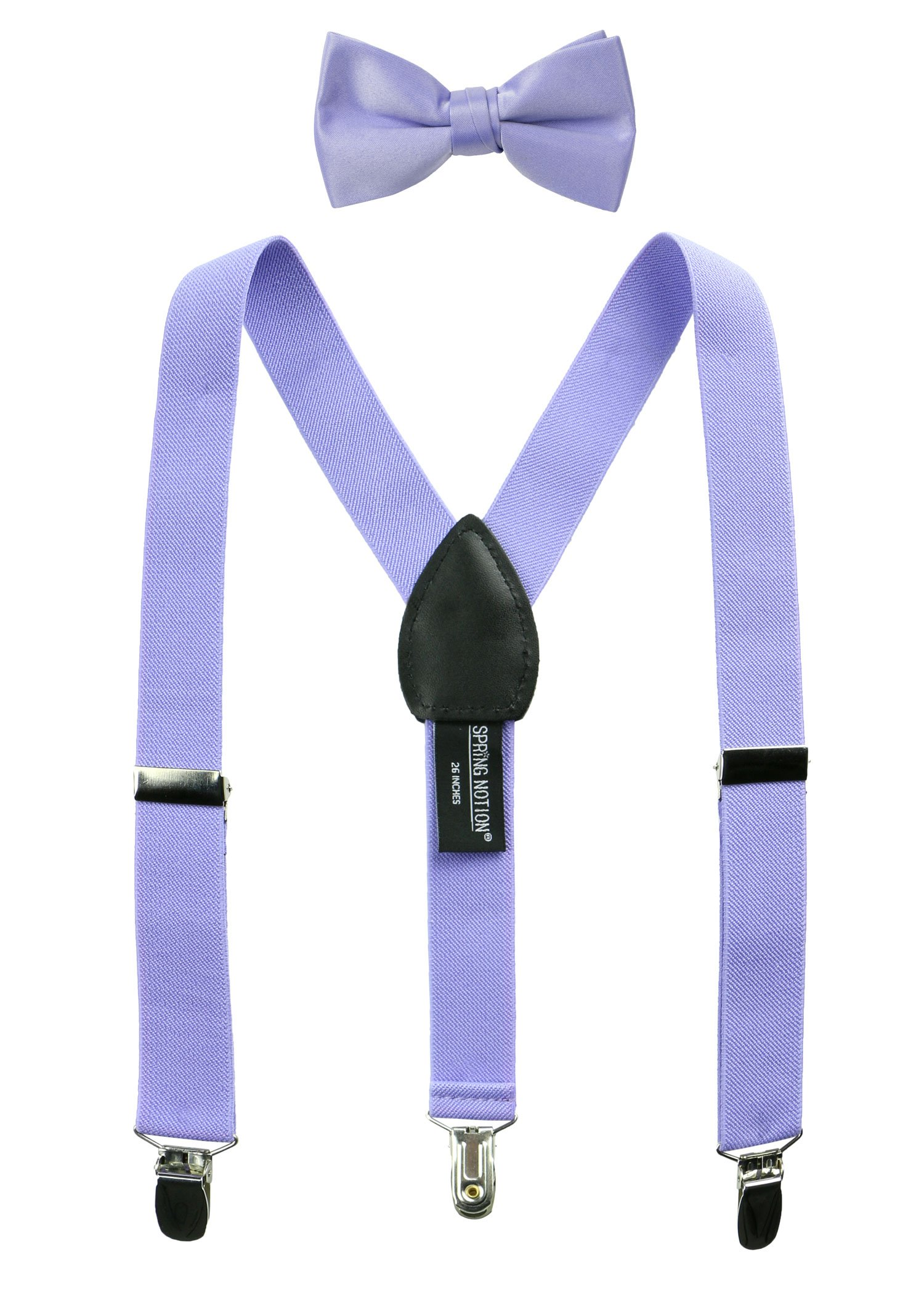 Spring Notion Boys' Suspenders and Solid Color Bowtie Set Dusty Lavender Small