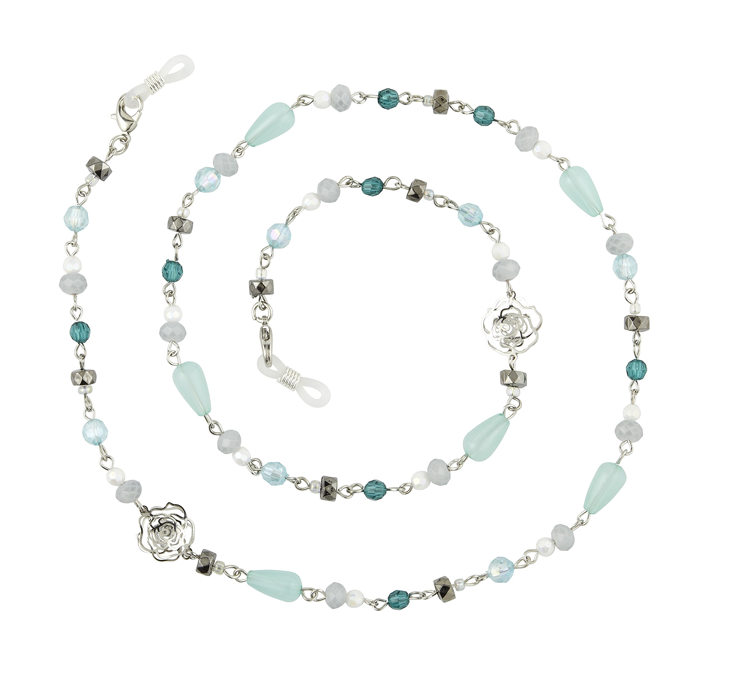 Beaded Eyeglass Chain Holder, Silver Or Gold Fashion Lanyard Necklace, Giselle Blue