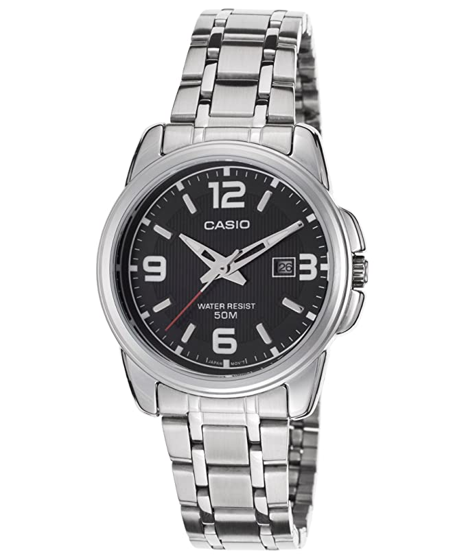 Amazon.com: Casio Womens LTP1314D-1AV Silver Stainless-Steel Quartz Watch with Black Dial: Casio: Watches
