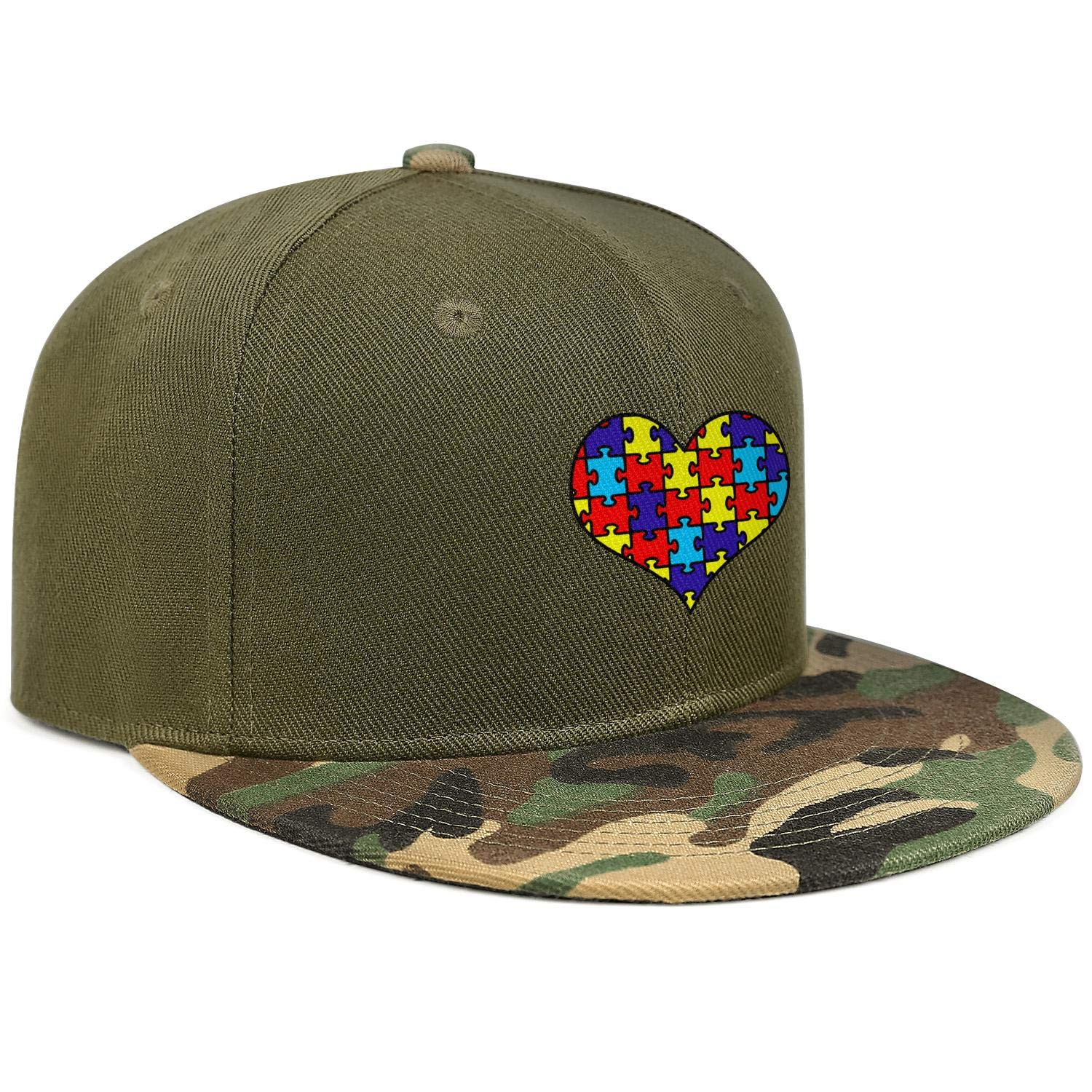 World Autism Awareness Day Puzzle Color Heart Unisex Baseball Cap Breathable Fishing Hats Adjustable Trucker Caps Dad-Hat