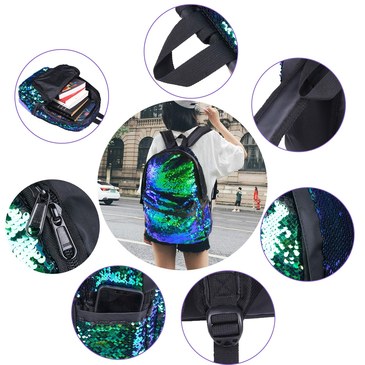 Purple YOUTH UNION Reversible Magic Sequin Backpack School Bags,Lightweight Travel Mermaid Glittering Backpack for Girls and Boys