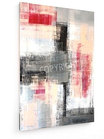 Grau Und Rot   Kunst Malerei   40x60 Cm   Textil Leinwandbild Auf Keilrahmen