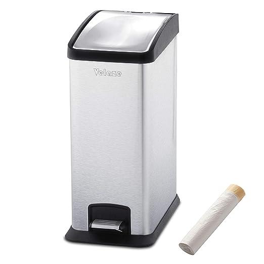 Velaze Cubo de Basura, Basurero Reciclaje de Acero Inoxidable Contenedor de Residuos para Oficina, Baño y Cocina con 20 Bolsas(12L x 1)
