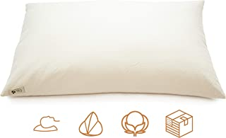 """product image for ComfyComfy Premium Buckwheat Pillow, Queen Size (20"""" x 30""""), Comes with Extra 2 lb of USA Grown Buckwheat Hulls to Customize for Comfort, Made from Durable Organic Cotton Twill"""