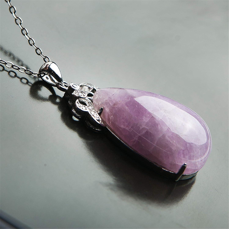 Natural Purple Kunzite Cat Eye Gemstone925 Silver Woman Reiki Stone PendantA AAA