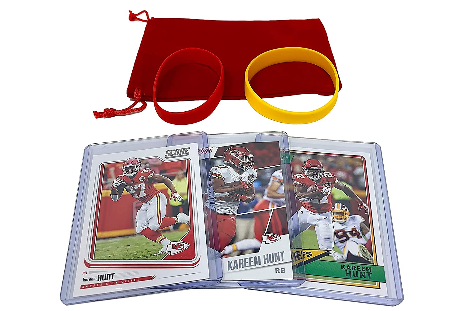 Kareem Hunt Football Cards (3) Assorted Bundle - Kansas City Chiefs Trading Card Gift Set Panini Bowman Topps
