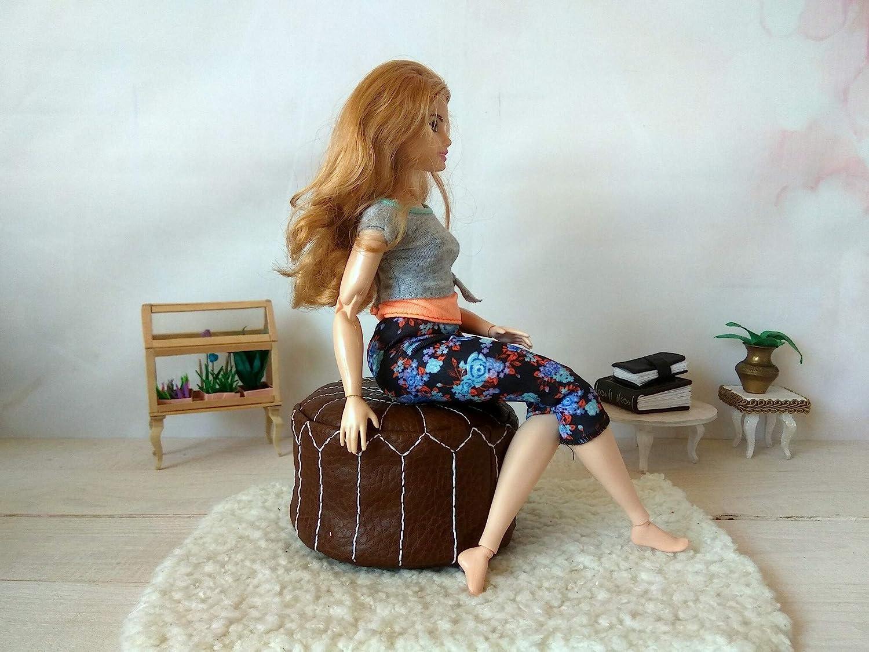 Miniature Morrocan Pouf Dollhouse Furniture 1//6 scale Handmade Leather Ottoman