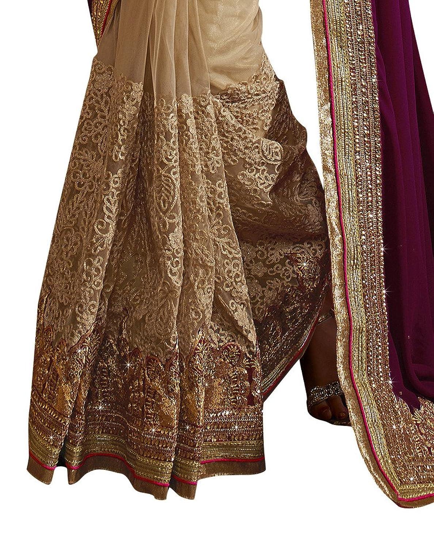 EthnicWear Party Wedding Beige Color Net Georgette Designer Sarees Saris