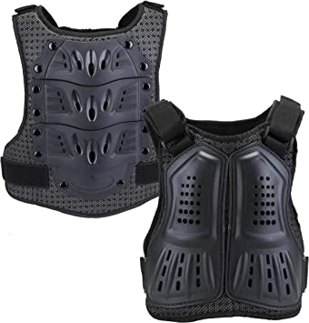 Black, L Motocross Chest Protector Children Protective Gear Body Guard Vest Protective Jacket with Spine Protector for Dirt Bike Skiing Cycling Riding Skateboarding WILDKEN Kids Body Armor