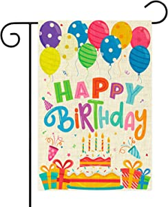 WATINC Happy Birthday Garden Flag Burlap Yard Signs Vertical Double Sided Readable Birthday Cake Banner House Flags Poster Party Decorations Supplies for Indoor Outdoor Lawn 12.4 x 18.2 Inch