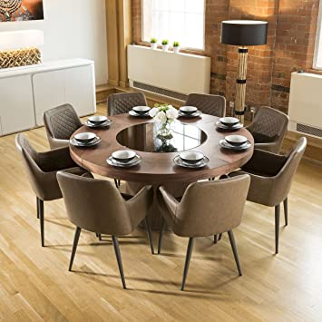 c865e0f295 Avant Garde Large Walnut Round 1.6m Dining Table + 8 x Antique Brown Carver  Chairs: Amazon.co.uk: Kitchen & Home