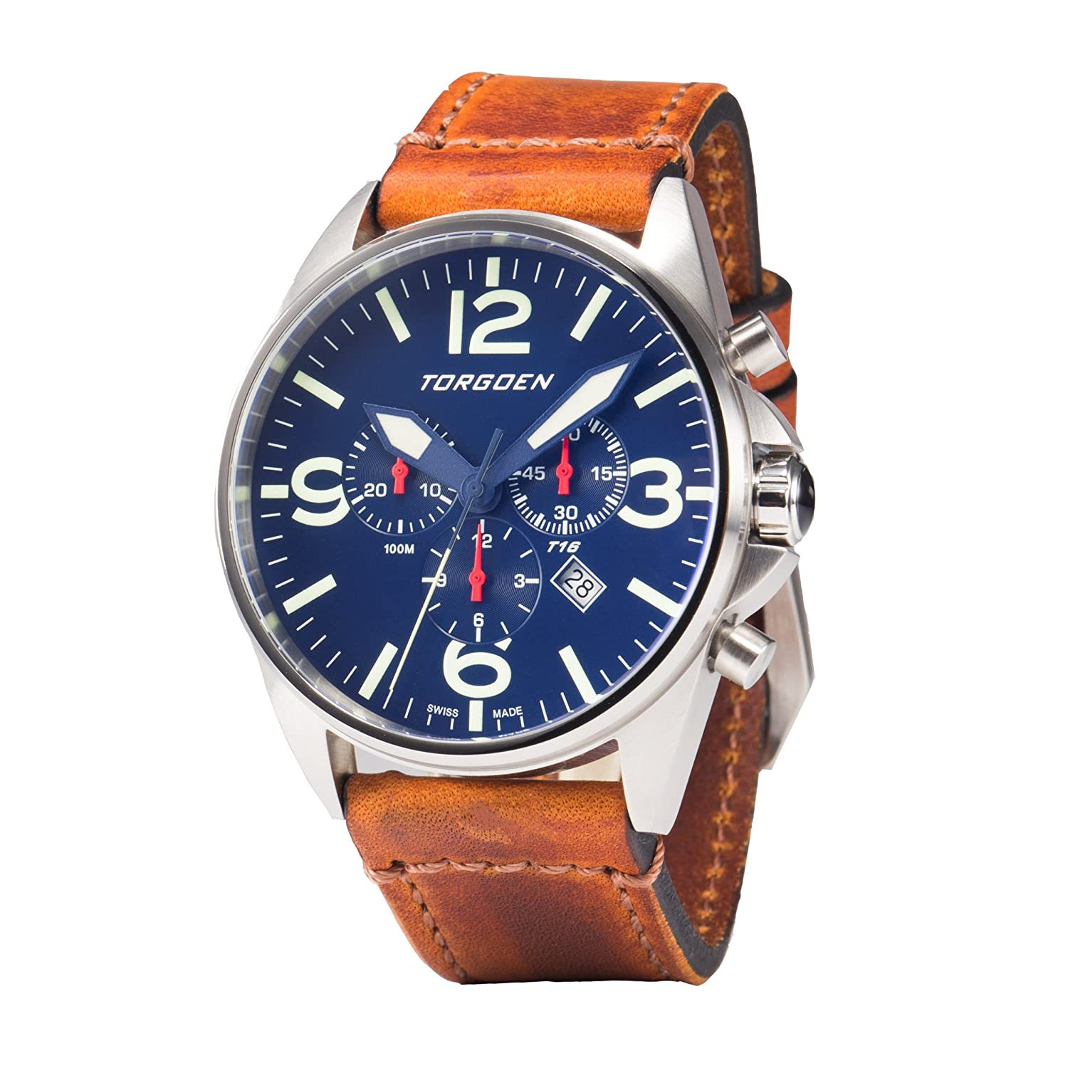 Amazon.com: Torgoen T16 Blue Swiss Chronograph Pilot Watch | 44mm - Vintage Leather Strap …: Watches