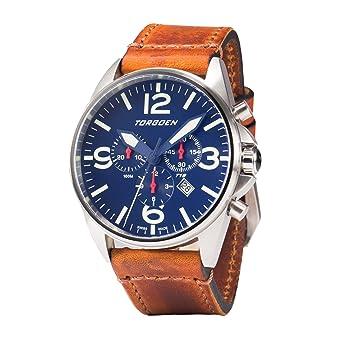 Amazon.com: Torgoen T16 Blue Swiss Chronograph Pilot Watch | 44mm - Vintage Leather Strap …: Watches