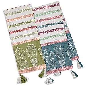 Design Imports DII Urban Oasis Cactus Stripe Dish Towels - Set of 2 - Southwest Inspired Decor
