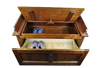 Mission Shoe Storage Bench Solid Oak Wood 39u0026quot; Chest Amish Custom  Handmade Pick Your