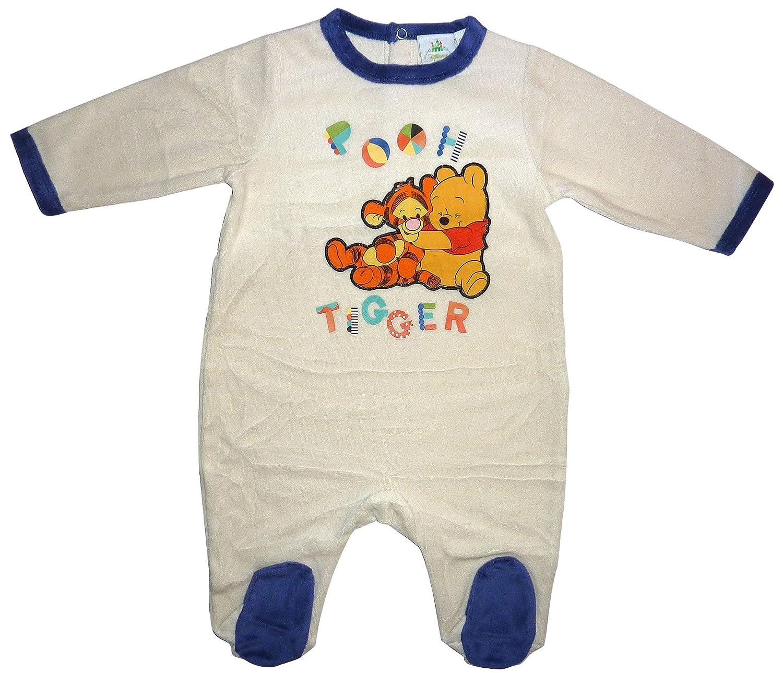 KML Baby Boys Winnie and Tiger Long Sleeve Ropmer Bodysuit Blue 1-18 Months