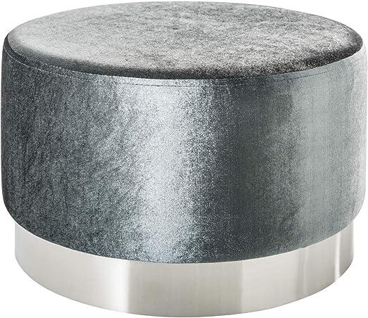 Dunord Design Hocker Sitzhocker Couchtisch Grau Silber 55cm Samtsoff Fusshocker Ablage Tisch Amazon De Kuche Haushalt