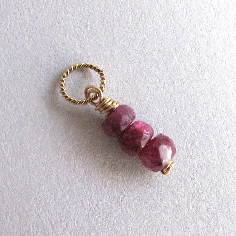 Genuine Ruby Charm, Small Gemstone Pendant, July Birthstone - 14k Gold Filled
