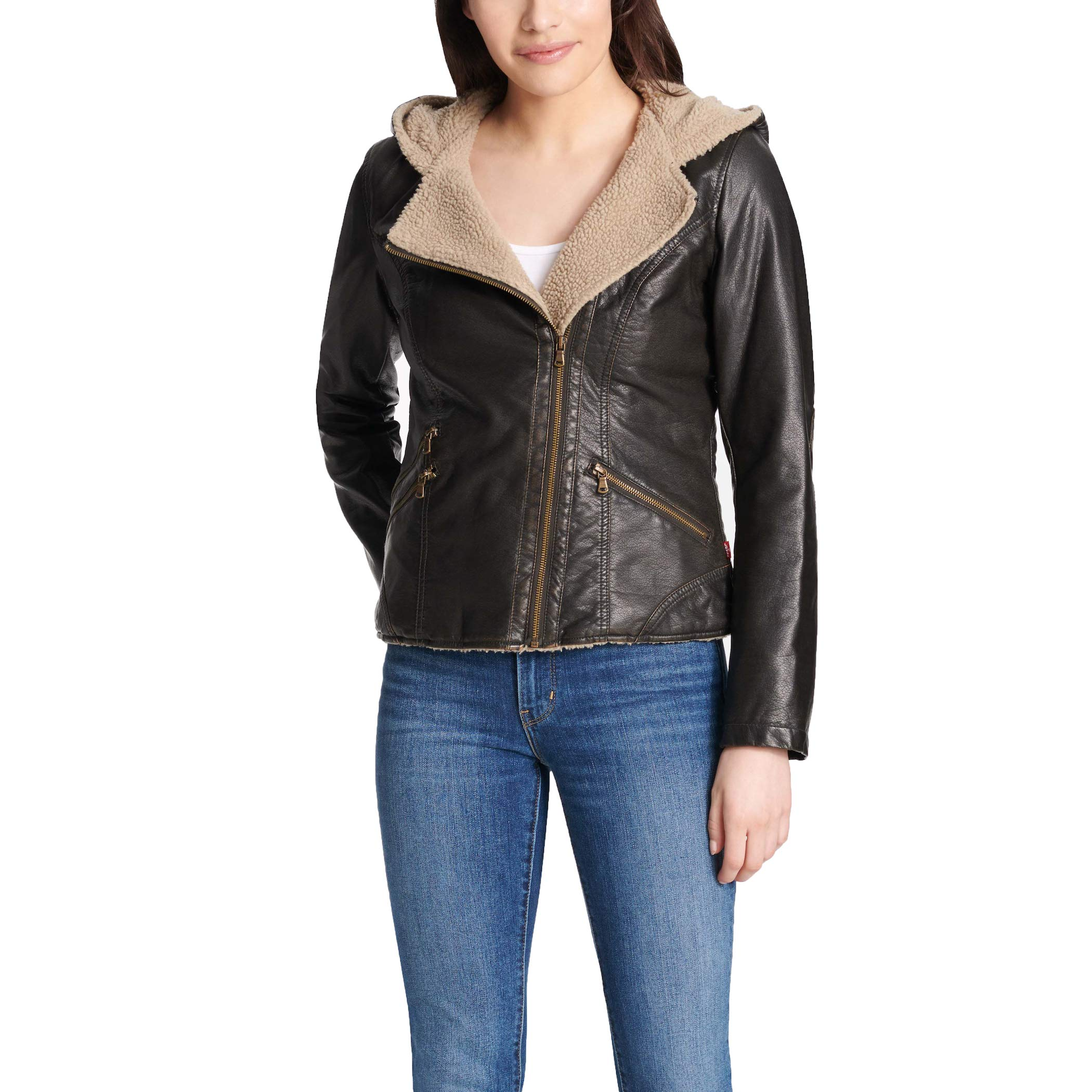 Levi's Women's Assymetrical Sherpa Lined Faux Fur Jacket, Dark Brown, Large by Levi's