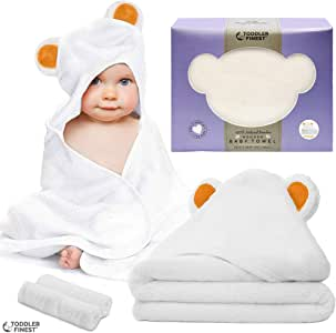"Premium Hooded Baby Bath Towel - 100% Bamboo Organic Hypoallergenic Towels - Safe Durable Breathable Ultra Soft Absorbent - Unisex Boy Girl Infant Toddler Newborn - Shower Gift Set (32""x 32"")"