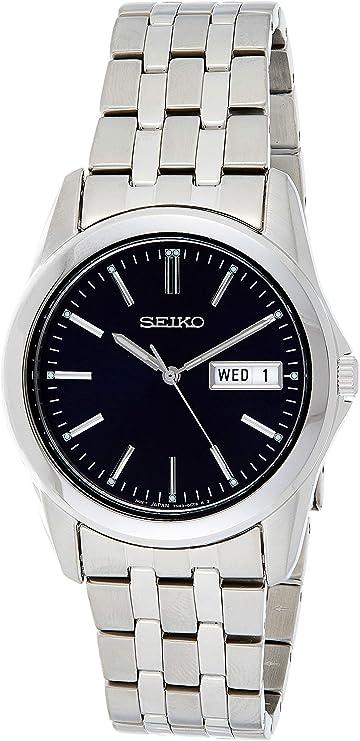 Seiko SGGA41P1 - Reloj analógico de caballero de cuarzo con correa de acero inoxidable plateada - sumergible a 30 metros