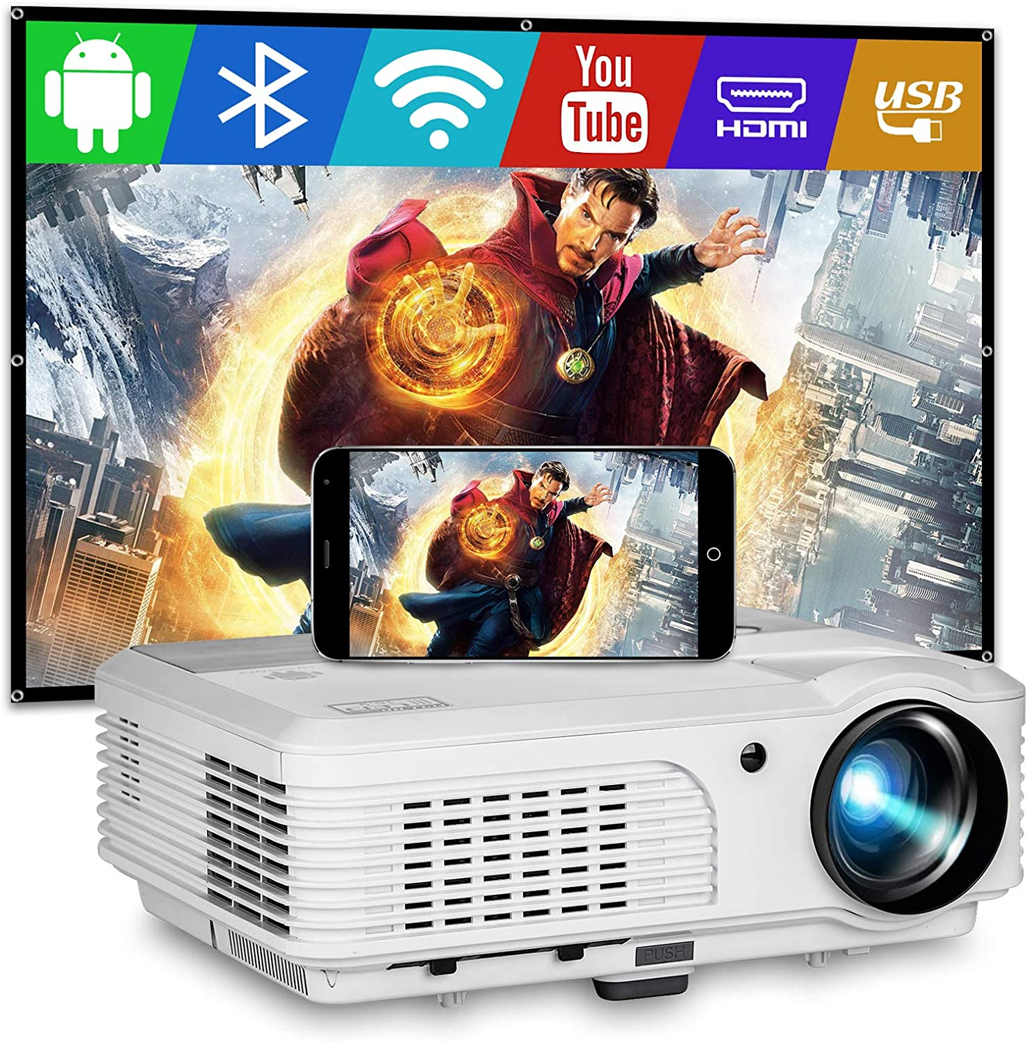 EUG Wireless WiFi Projector LED 4400 Lumen Multimedia Home Theater Video Projectors with Bluetooth Android HDMI USB Compatible with Full Hd 1080P Wireless Smartphone DVD TV Stick Games Outdoor Movies