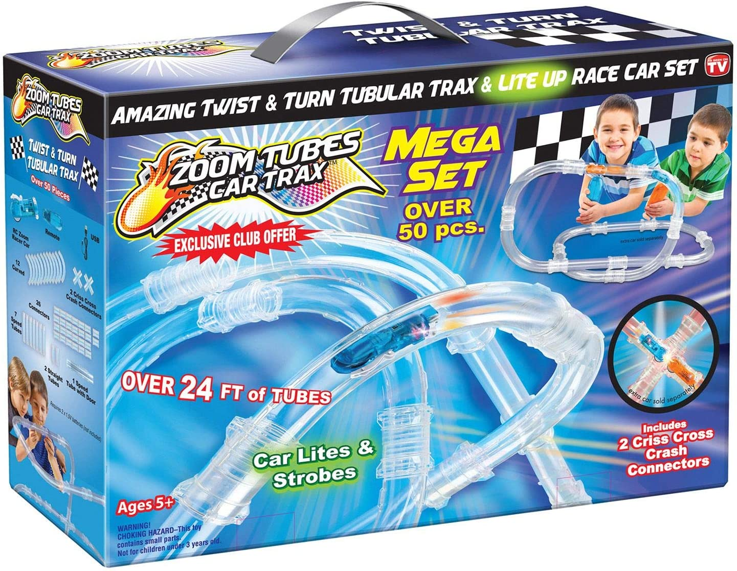 As Seen on TV ZOOM TUBES CAR TRAX MEGA Set 50-Pc RC Car Trax Set with 1 Blue Racer and Over 24ft of Tubes